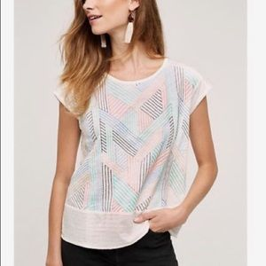 🆕 Anthropologie White Multicolor Embroidered Top